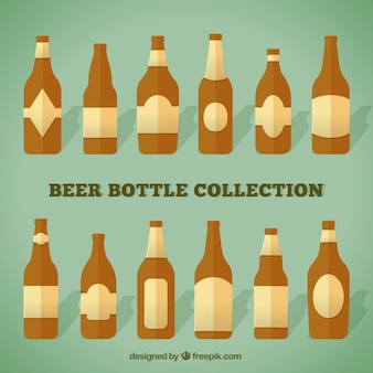 Collection of beer bottles in flat style