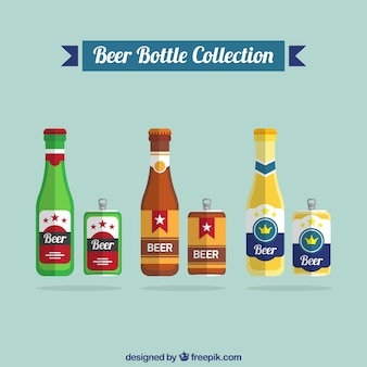 Collection of beer cans and beer bottles