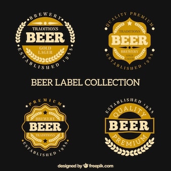Collection of beer label in retro style