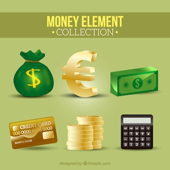 Collection of bills and other money items