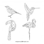 Collection of bird tattoos in geometric shape
