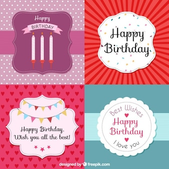 Collection of birthday card in vintage style