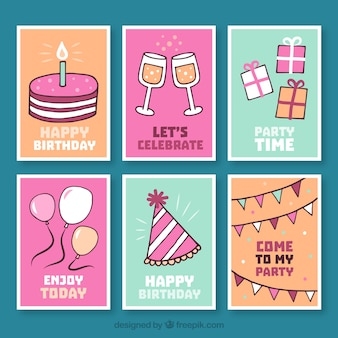 Collection of birthday card with hand drawn elements