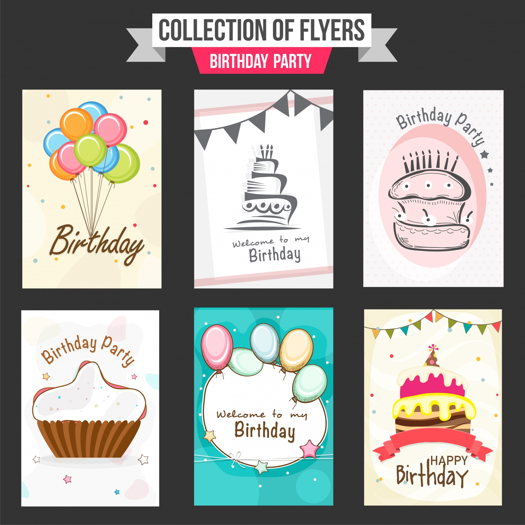 Collection of Birthday Party flyers with illustration of colorful balloons, sweet cakes and cupcake