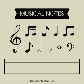 Collection of black musical notes