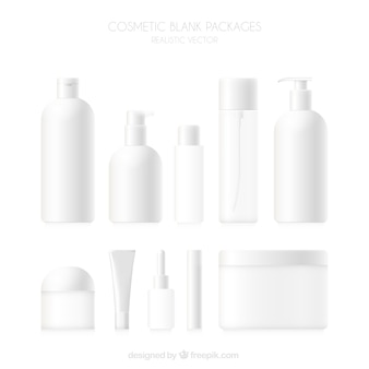 Collection of blank cosmetics