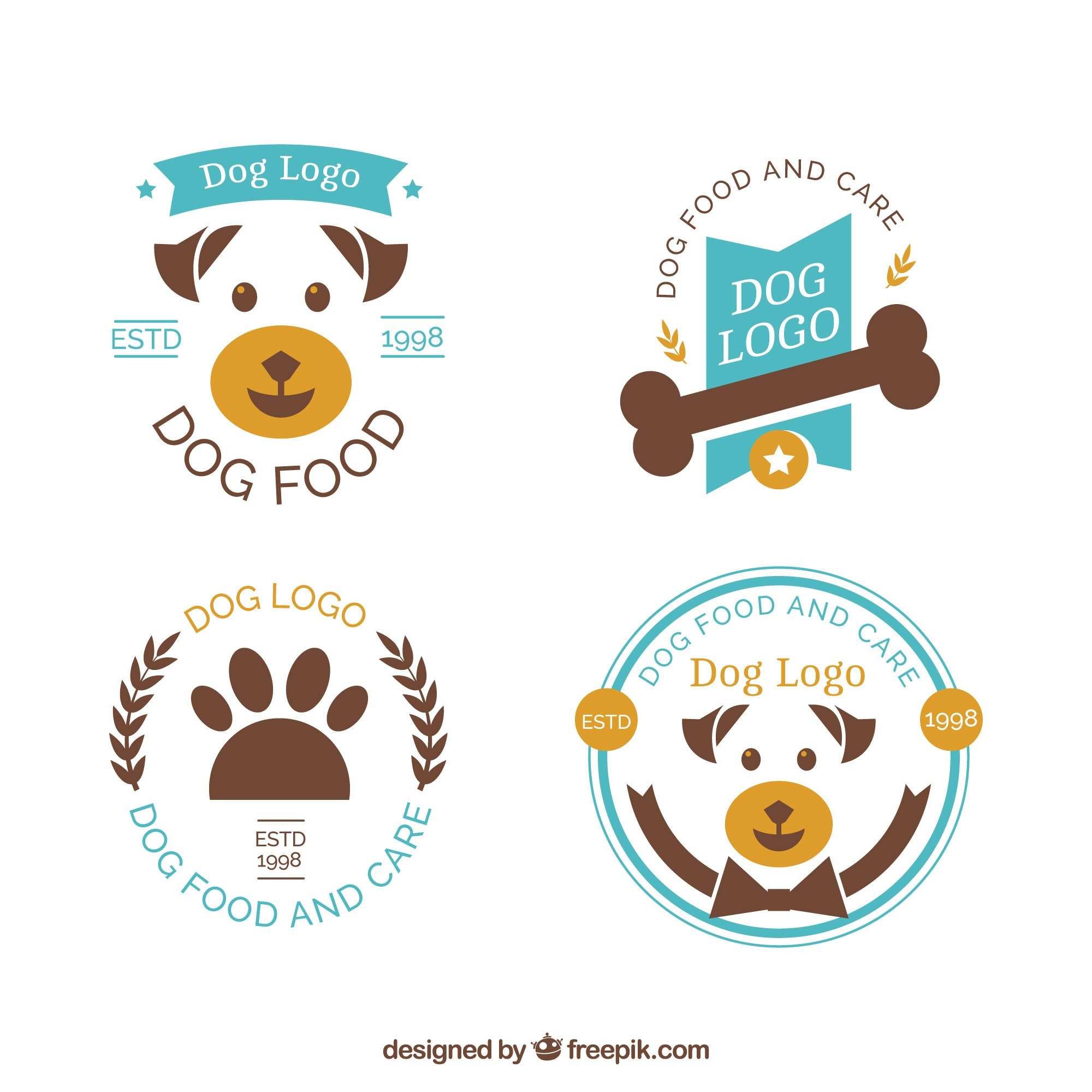 Collection of blue and brown dog logos