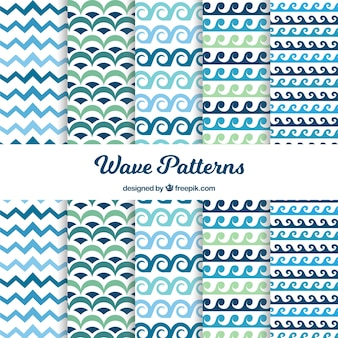 Collection of blue and green wave patterns