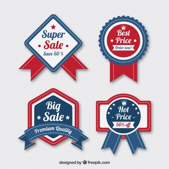 Collection of blue and red badges with special offers