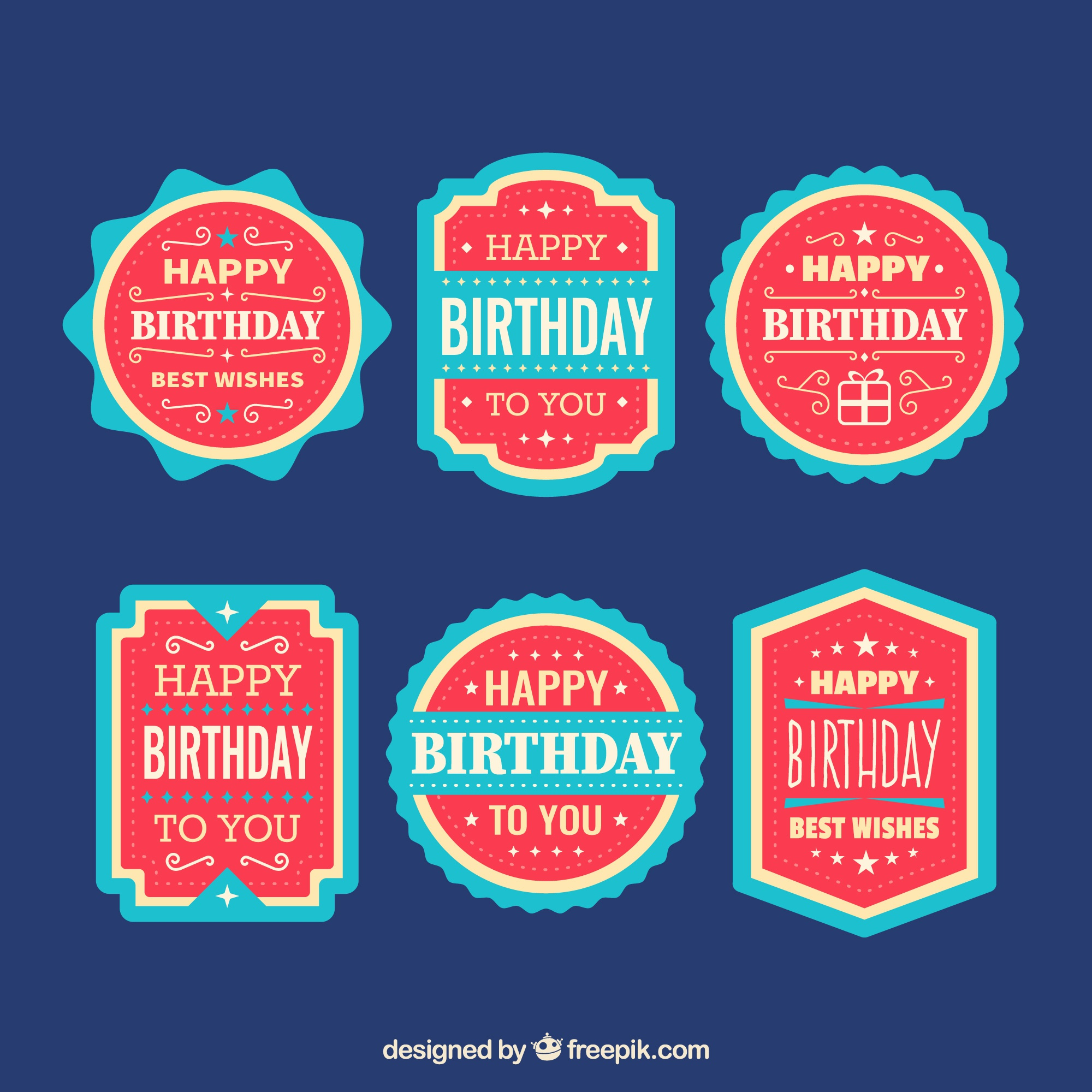 Collection of blue and red birthday stickers