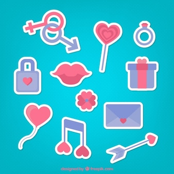 Collection of blue and red romantic stickers
