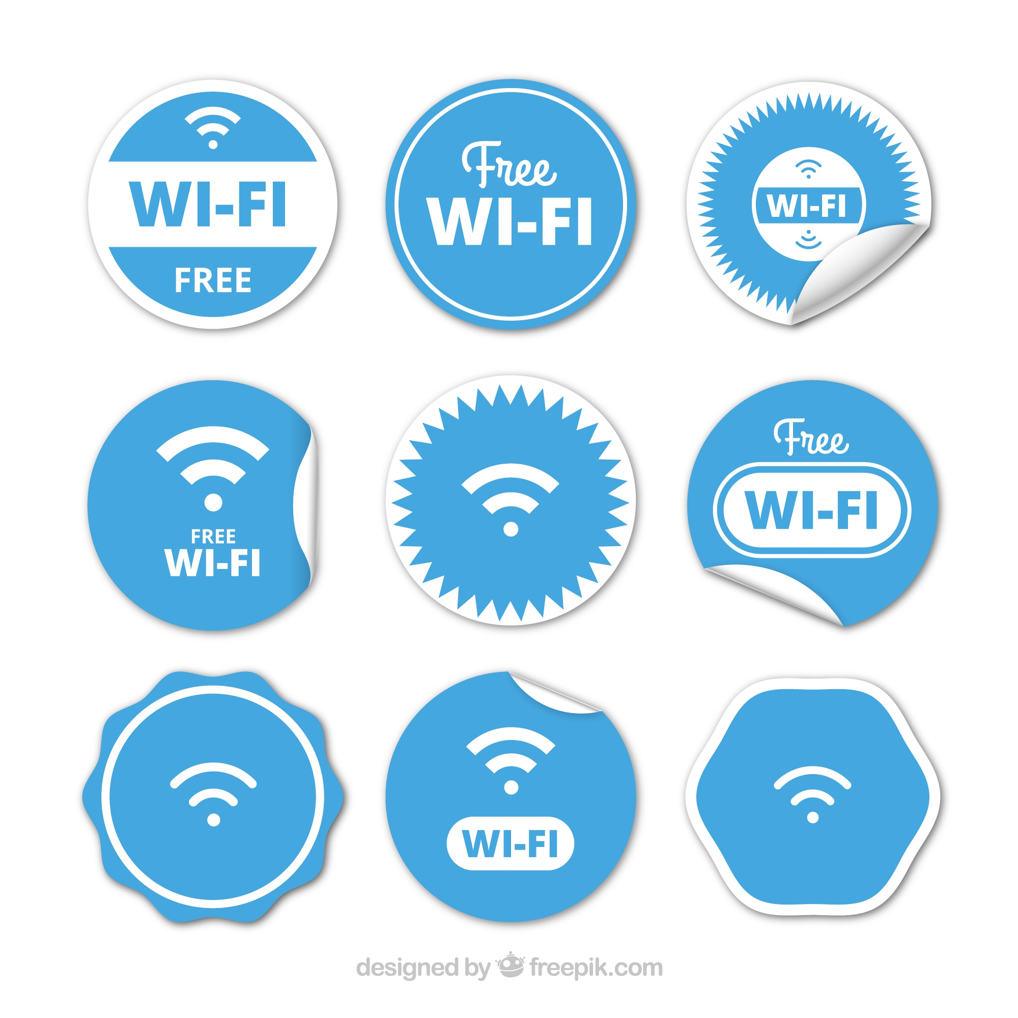 Collection of blue and white wifi buttons