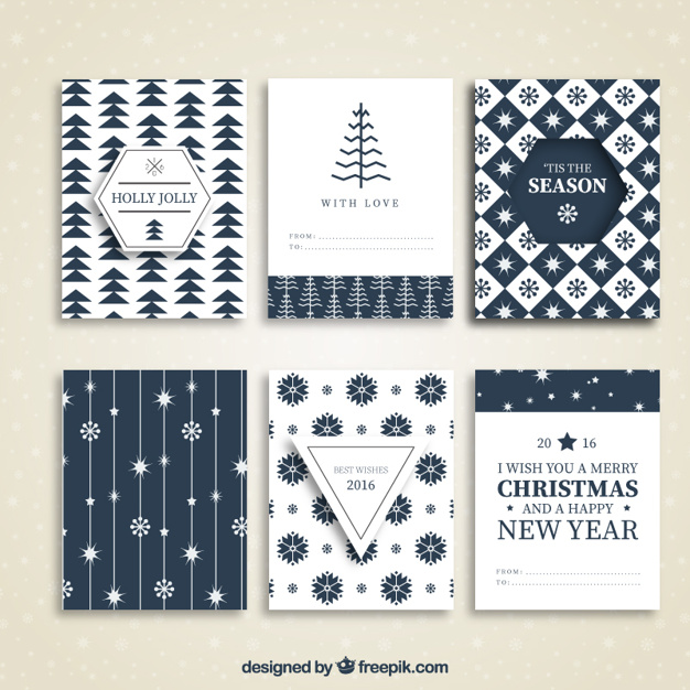 Collection of blue christmas cards
