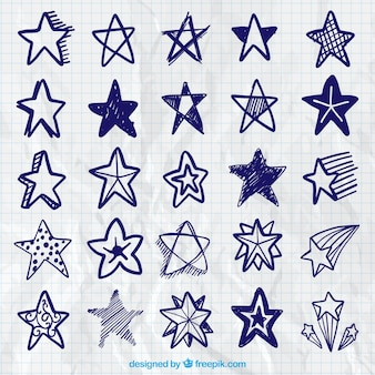 Collection of blue scribbles stars