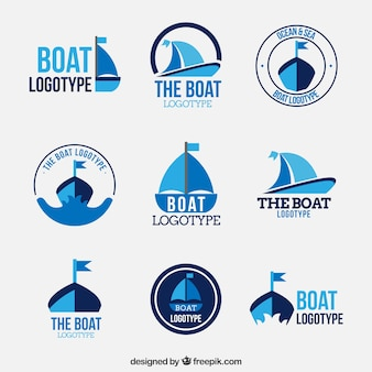 Collection of boat logos in flat design