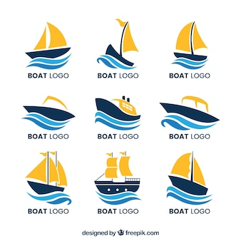 Collection of boat logos with waves