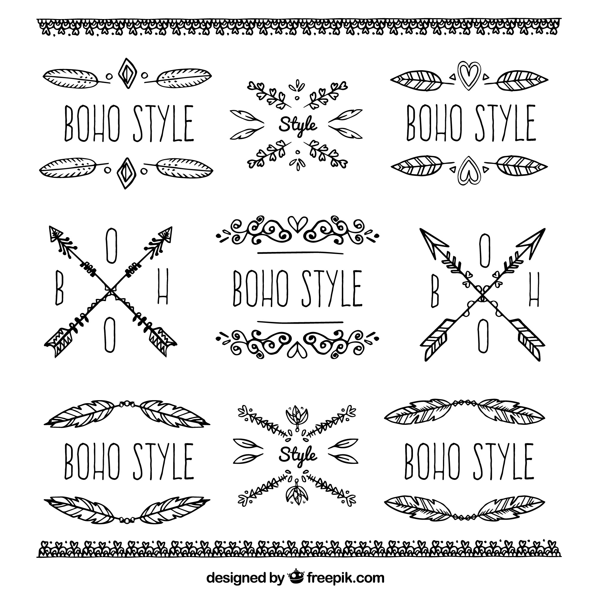 Collection of boho ornaments and stickers
