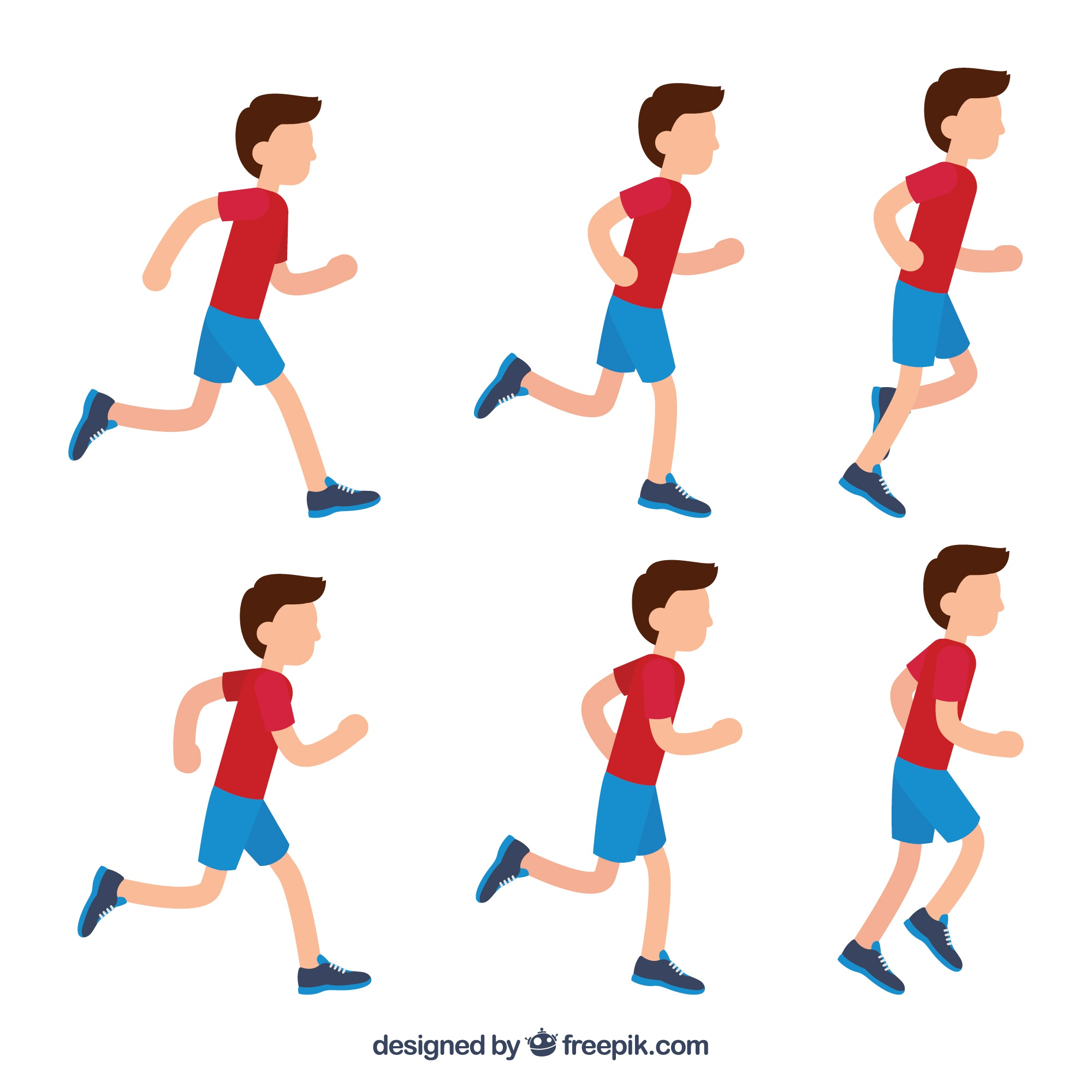 Collection of boy running
