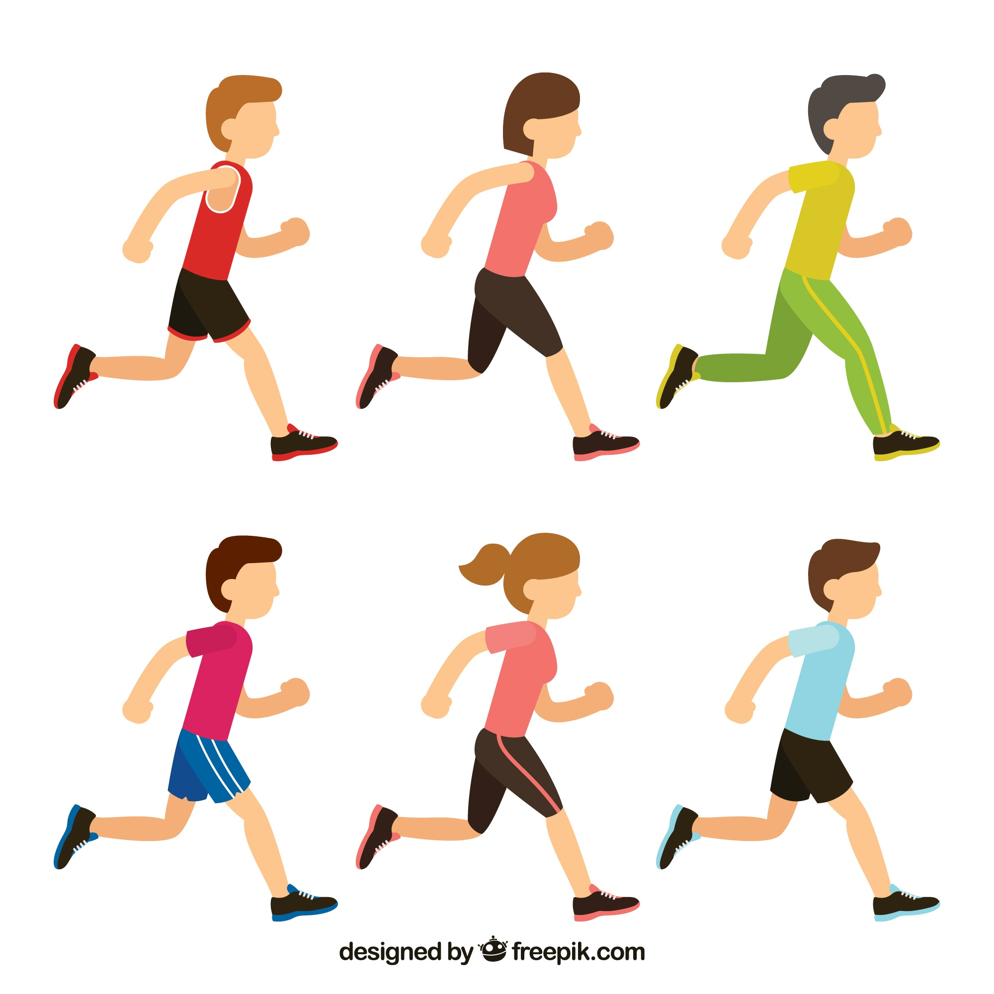 Collection of boys and girls running