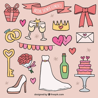 Collection of bridal shower accessories in hand-drawn style