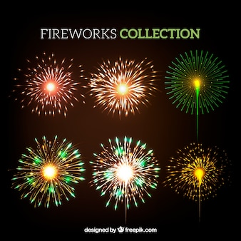 Collection of bright fireworks