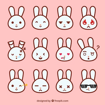 Collection of bunny emoticons