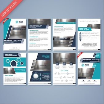Collection of business brochures with elements in blue tones