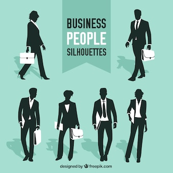 Collection of business people silhouettes