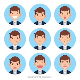Collection of businessman character with nine expressive faces