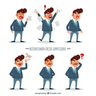 Collection of businessman with expressions