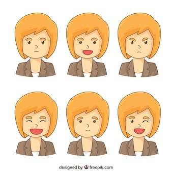 Collection of businesswoman with different expressions