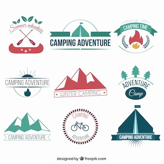 Collection of camping adventure badges