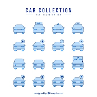 Collection of car icons in blue tones