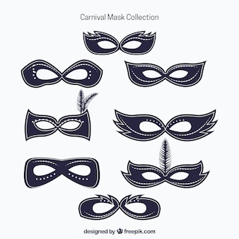 Collection of carnival masks in minimalist style