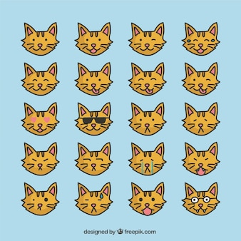 Collection of cat emoticons in flat design