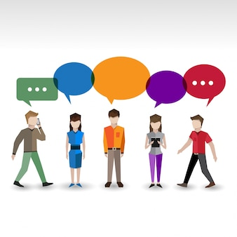 Collection of characters with color speech bubbles