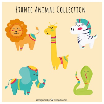 Collection of childish animals with ethnic details
