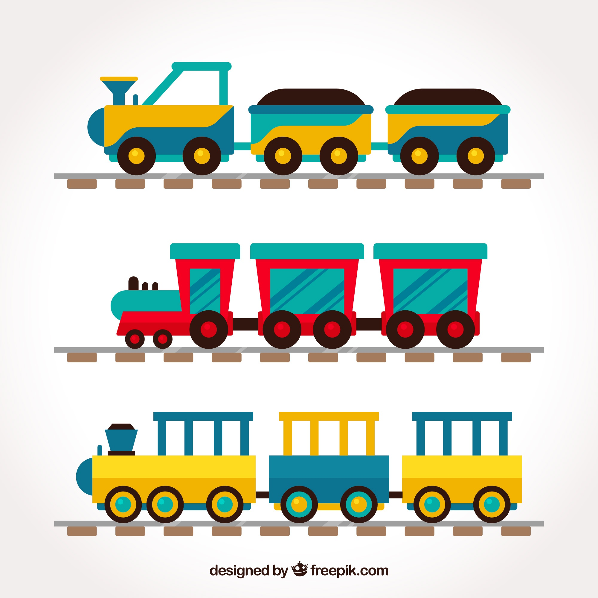 Collection of childish trains