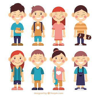 Collection of children character ready for school