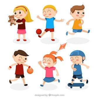 Collection of children doing activities