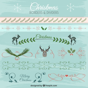 Collection of christmas borders and dividers