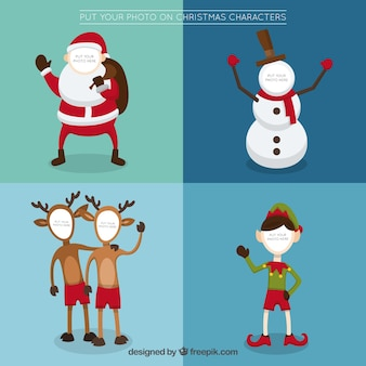 Collection of christmas character greeting template