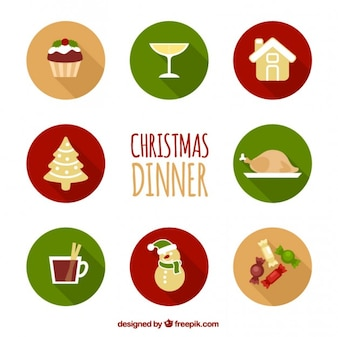 Collection of christmas dinner icons