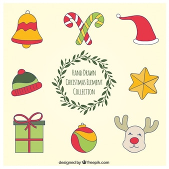 Collection of christmas elements hand drawn