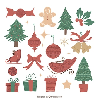 Collection of christmas elements in sketchy style