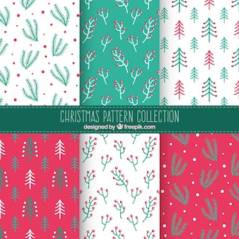 Collection of christmas floral patterns
