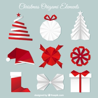 Collection of christmas origami elements