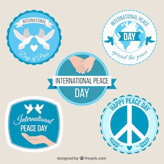 Collection of circular badges for international day of peace