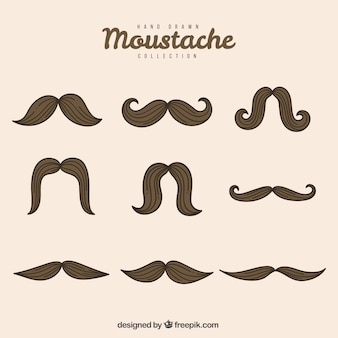 Collection of classic hand-drawn mustaches