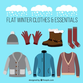 Collection of clothing and winter accessories